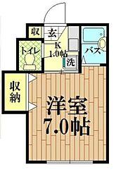 田中マンション 2階1Kの間取り