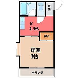 栃木県宇都宮市さつき3丁目の賃貸アパートの間取り