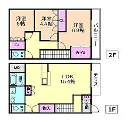 [テラスハウス] 大阪府豊中市熊野町2丁目 の賃貸【/】の間取り