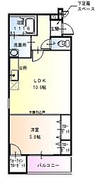 ノースフィールド北花田II 2階1LDKの間取り