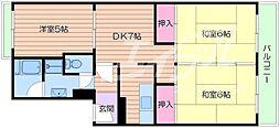 大阪府箕面市粟生間谷東1丁目の賃貸マンションの間取り