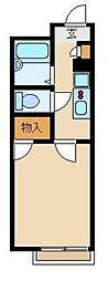 西武新宿線 東村山駅 徒歩13分の賃貸アパート 2階1Kの間取り