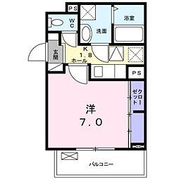 愛知県岡崎市上地1丁目の賃貸アパートの間取り