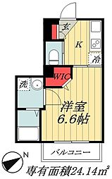 JR総武線 本八幡駅 徒歩10分の賃貸マンション 2階1Kの間取り