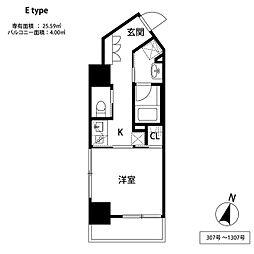福岡市地下鉄空港線 中洲川端駅 徒歩6分の賃貸マンション 4階1Kの間取り