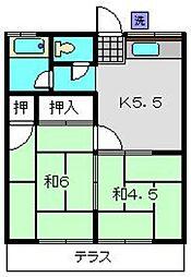 神奈川県横浜市旭区中白根2丁目の賃貸アパートの間取り