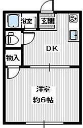 南海高野線 滝谷駅 徒歩29分の賃貸アパート 2階1DKの間取り