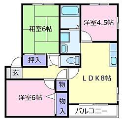 コートグランメールC棟[2階]の間取り