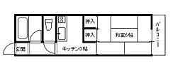 馳川アパート[5号室]の間取り