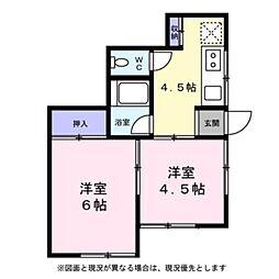 東京都日野市豊田4丁目の賃貸アパートの間取り
