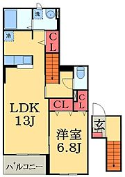 JR外房線 大網駅 徒歩4分の賃貸アパート 2階1LDKの間取り