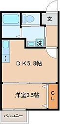 Loa Plata 松戸 2階1DKの間取り