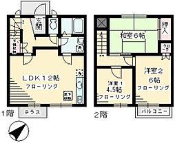 [テラスハウス] 神奈川県川崎市多摩区長沢2丁目 の賃貸【/】の間取り