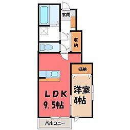 栃木県下都賀郡壬生町若草町の賃貸アパートの間取り