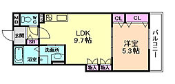 大阪府大阪市淀川区加島1丁目の賃貸アパートの間取り