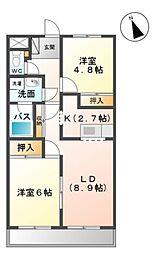 愛知県岡崎市百々町字池ノ入の賃貸アパートの間取り