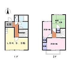 [タウンハウス] 岡山県倉敷市中央1丁目 の賃貸【/】の間取り