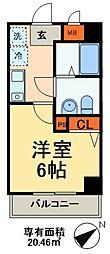 JR総武線 本八幡駅 徒歩3分の賃貸マンション 5階1Kの間取り