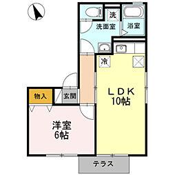 愛知県豊橋市清須町字高見の賃貸アパートの間取り