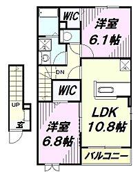 埼玉県入間市大字小谷田の賃貸アパートの間取り