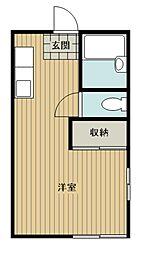 JR埼京線 南与野駅 徒歩6分の賃貸アパート 1階ワンルームの間取り