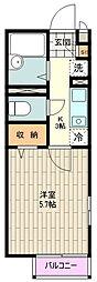 京王線 南平駅 徒歩17分の賃貸アパート 2階1Kの間取り