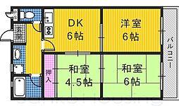 大阪府堺市南区原山台5丁の賃貸マンションの間取り