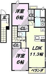 埼玉県入間市宮寺の賃貸アパートの間取り