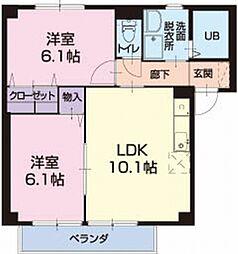 滋賀県栗東市綣5丁目の賃貸アパートの間取り