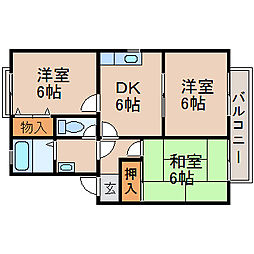 滋賀県守山市二町町の賃貸アパートの間取り