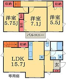 [一戸建] 千葉県千葉市中央区宮崎1丁目 の賃貸【/】の間取り
