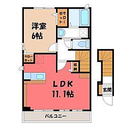 栃木県栃木市大平町蔵井の賃貸アパートの間取り
