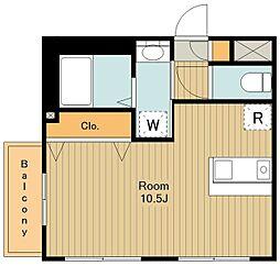 ハウス12 2階ワンルームの間取り
