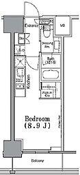 東京メトロ東西線 九段下駅 徒歩3分の賃貸マンション 2階ワンルームの間取り