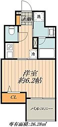JR山手線 御徒町駅 徒歩1分の賃貸マンション 8階1Kの間取り