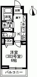 京王線 下高井戸駅 徒歩4分の賃貸マンション 3階1Kの間取り