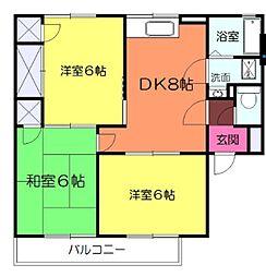 ドミールしんやB 2階3DKの間取り