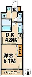 京王線 千歳烏山駅 徒歩2分の賃貸マンション 2階1DKの間取り