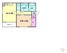 阪急京都本線 南方駅 徒歩7分の賃貸マンション 2階1DKの間取り