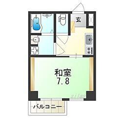 JR大阪環状線 今宮駅 徒歩8分の賃貸マンション 4階1Kの間取り