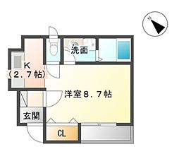 愛知県豊橋市向山町字三ツ塚の賃貸アパートの間取り