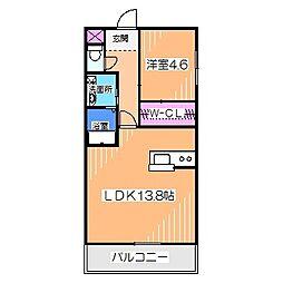 ロッシュ・フォーレ 2階1LDKの間取り