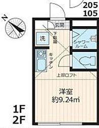 JR山手線 池袋駅 徒歩10分の賃貸アパート 2階ワンルームの間取り