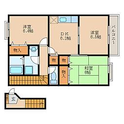 ヒルサイドハウスA[2階]の間取り