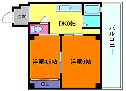 兵庫県神戸市中央区熊内橋通6丁目の賃貸マンションの間取り
