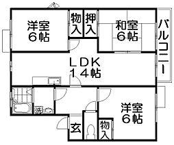 ビクトアール江角[2階]の間取り