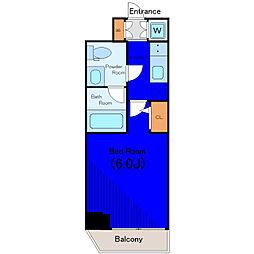 JR山手線 五反田駅 徒歩8分の賃貸マンション 8階1Kの間取り