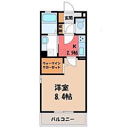 茨城県古河市下山町の賃貸アパートの間取り