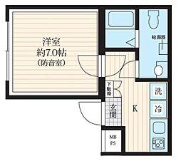 都営三田線 板橋区役所前駅 徒歩5分の賃貸マンション 4階1Kの間取り
