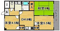 阪急京都本線 上新庄駅 徒歩19分の賃貸マンション 2階3DKの間取り